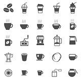 Coffee icons on white background
