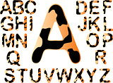 Tiger Alphabet with black Splats - All seperatly grouped letters