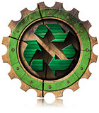 Recycle Green Symbol on Wooden Gear