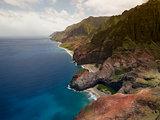 Aerial View on Na Pali Coast on Kauai island on Hawaii