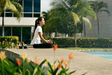 Relax Business Woman Yoga Lotus Position Outside Office Building