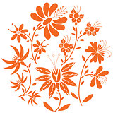 Floral folk pattern in circle