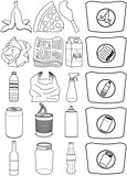 Food Bottles Cans Paper Trash Recycle Pack Lineart