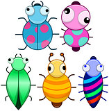 Funny Colorful Cute Little Bugs
