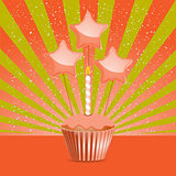 Orange Birthday cupcake