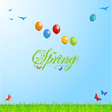 Spring background with Text and Balloons