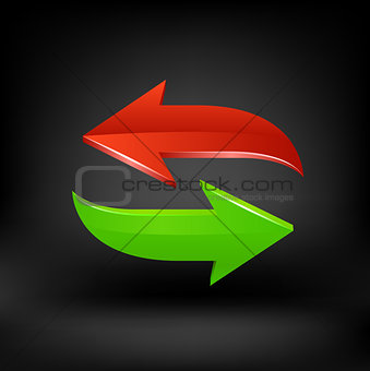 Green and red arrow. Vector