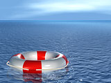 Lifebuoy, floating on sea