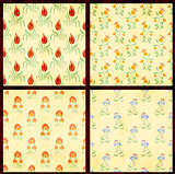 Set of floral backgrounds with paper texture