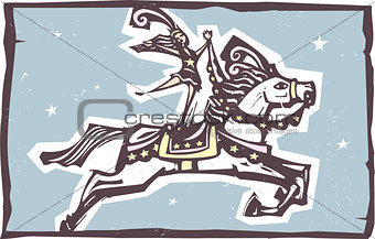Circus Horse Leaping