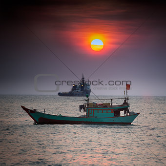 Small fishing boat in South China Sea, Vung Tau, Vietnam