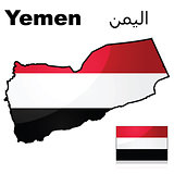 Yemen flag and map