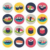 Sushi circular icon set