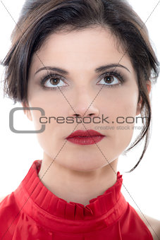 beautiful looking up serious caucasian woman portrait