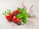 Cherry tomatoes basil and garlic