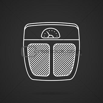 Floor scales white line vector icon