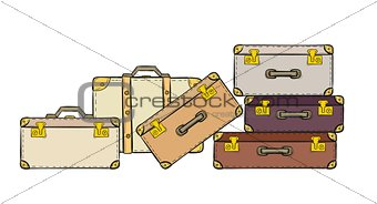 sketch of the suitcases
