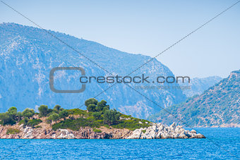 small rocky island in the Aegean Sea
