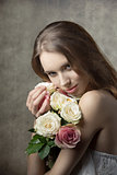 pretty girl with floral bouquet