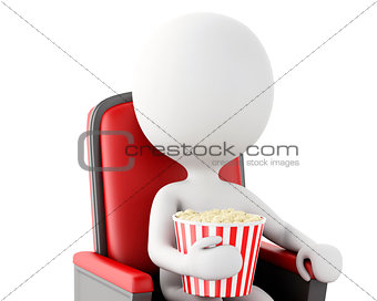 3d white people with popcorn. Isolated white background