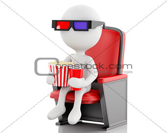 3d white people with popcorn and drink.