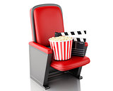 3d Cinema clapper board and popcorn. Isolated white background