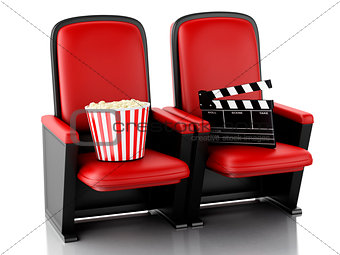 3d Cinema clapper board and popcorn on theater seat.