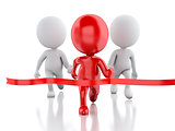 3d red people crossing the finishing line. Succes concept