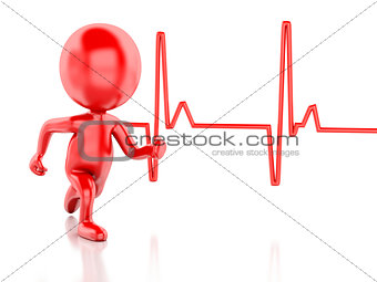 3d running people with heartbeat. Medical concept