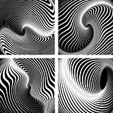Whirlpool movement. Op art backdrops  set.
