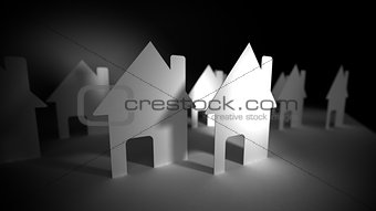 A lot of concept paper houses.