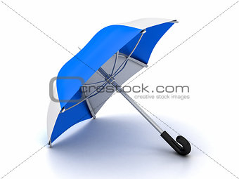 blue and white umbrella