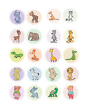 Icons animals set
