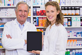 Pharmacist showing tablet pc