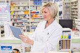 Pharmacist using tablet pc
