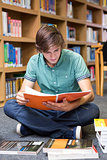 Student sitting on floor in library