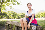 Pretty oktoberfest girl smiling at camera