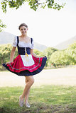 Pretty oktoberfest girl in the park