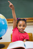 Pupil raising her hand during class
