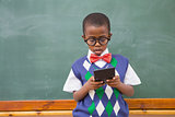 Cute pupil using calculator