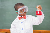 Focus pupil looking at red liquid