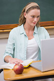 Focus teacher at her desk