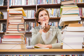 Thoughtful teacher at library