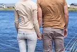 Happy couple at a lake