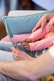 Family on the couch together using tablet pc