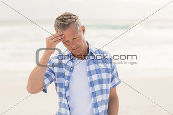 Casual man feeling worried