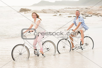Casual couple on a bike ride