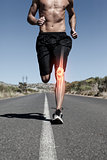 Highlighted knee bone of running man