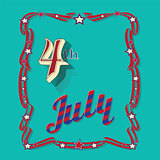 Vintage style greeting card for Independence Day 4 th July