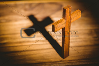 Crucifix icon on wooden table